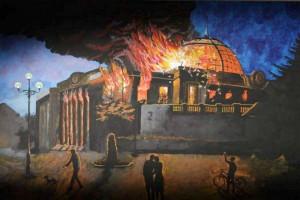 Картину з палаючою Верховною Радою продали за 120000 грн