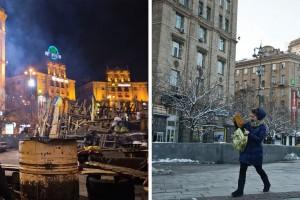 Рік після Майдану: як виглядав Київ тоді і зараз