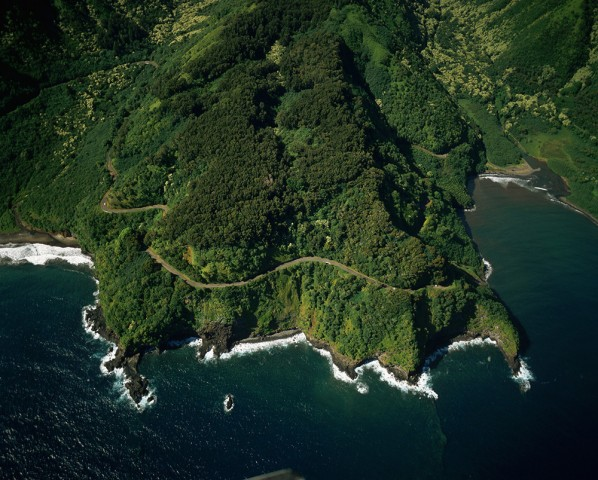 Aerial View of Winding Hana Road Along Slopes of Maui Coast