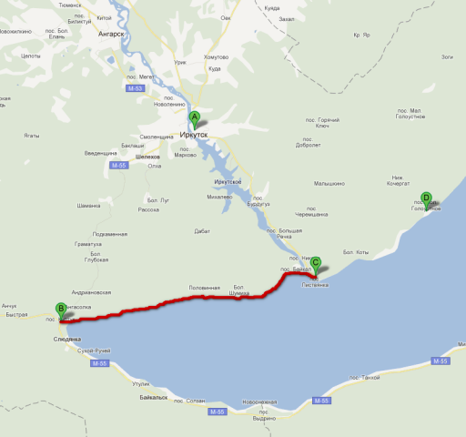 Схема мого маршруту вздовж Байкалу від селища Култук (B) до селища Листвянка (C)