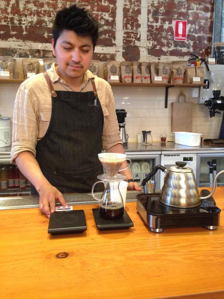 баріста заварює нам hario v60 в легендарній кав'ярні Seven Seeds в Мельбурні