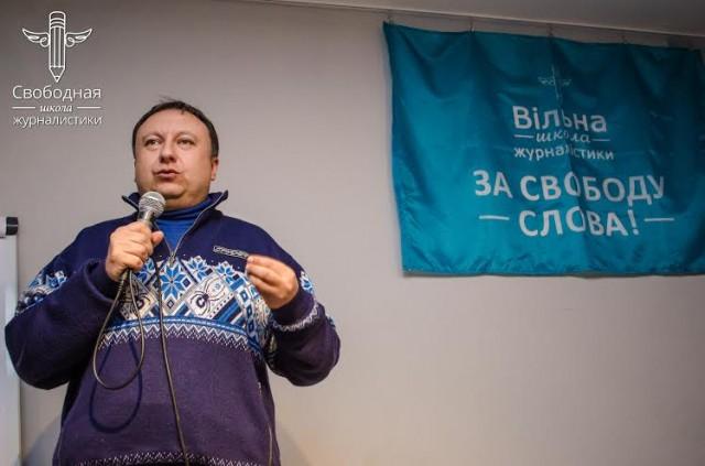 Микола Княжицький, засновник Еспресо TV та Народний депутат України під час лекції (січень, 2014)