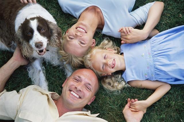 Family Lying on Grass