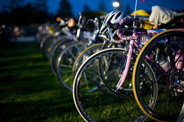 Night time bike parking.