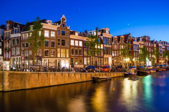 Night street in Amsterdam, Netherlands