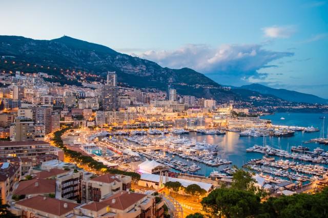 Monaco evening cityscape